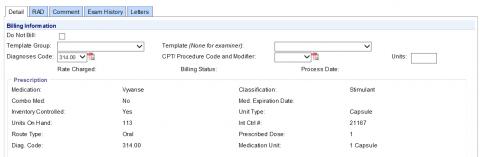 Office Visit Billing Template example screenshot – entering information